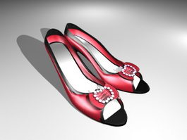 Red Court Shoes 3d model
