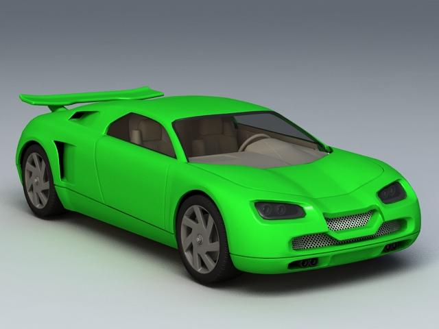 Green Super Sport Car 3d model 3ds Max,Autodesk FBX files