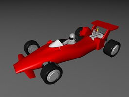 F1 Race Car Cartoon 3d model