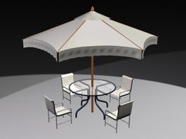Outdoor Patio Set with Umbrella 3d model