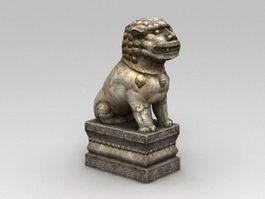 Stone Temple Lion 3d model