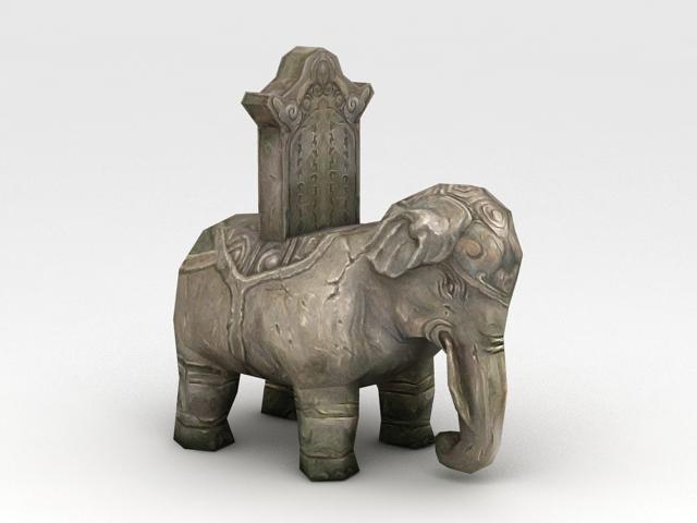 Stone Elephant Sculpture 3d model
