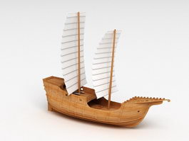 Wooden Sailing Ship 3d model