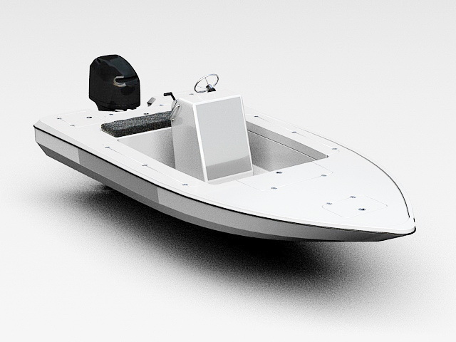 Small Motorboat 3d model