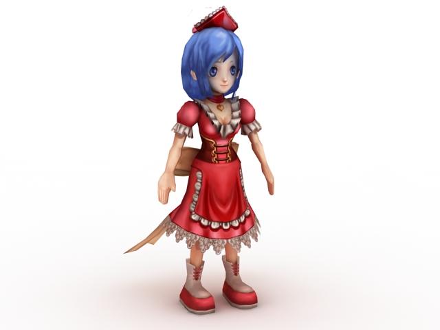 Cute Anime Girl 3d model