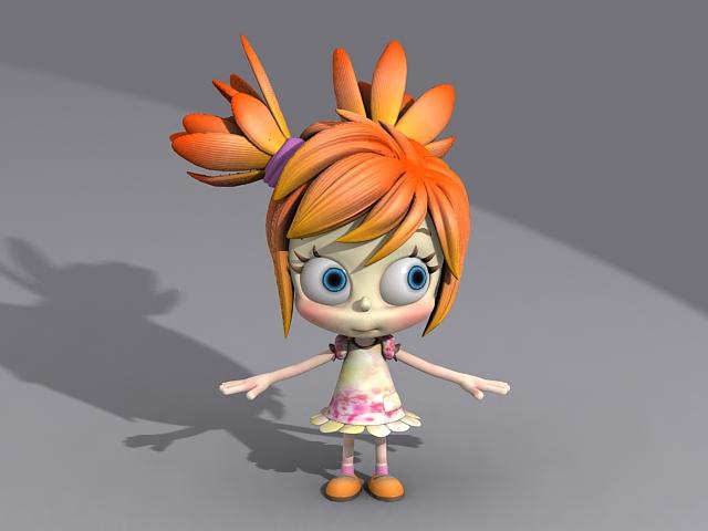 Cute Little Cartoon Girl 3d model