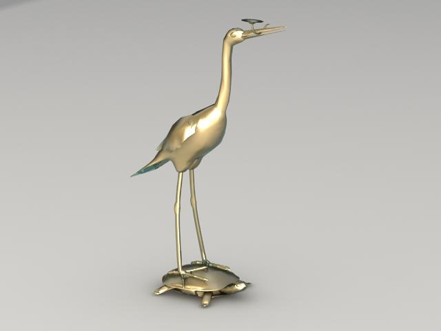 Brass Crane Statue 3d model