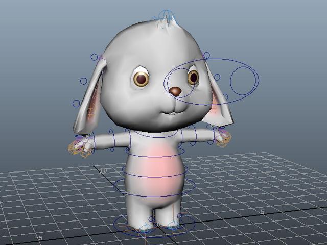 Cartoon Rabbit Rig 3d model