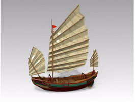 Old Wooden Sailing Ship 3d model