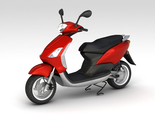 Red Moped 3d model