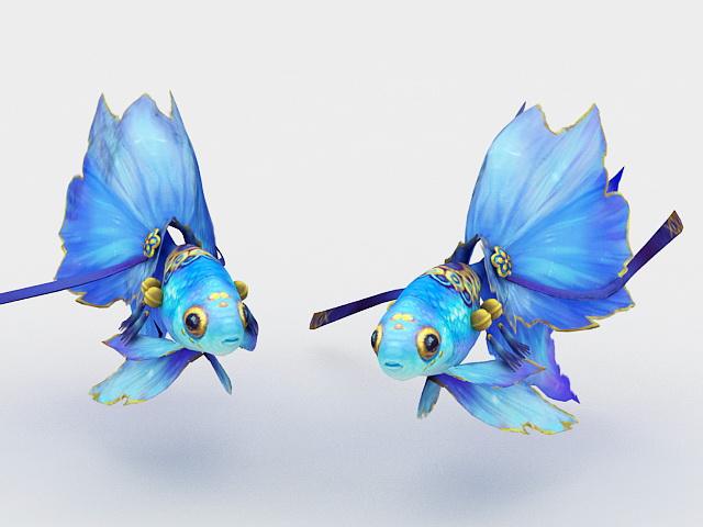 Blue Goldfish 3d model