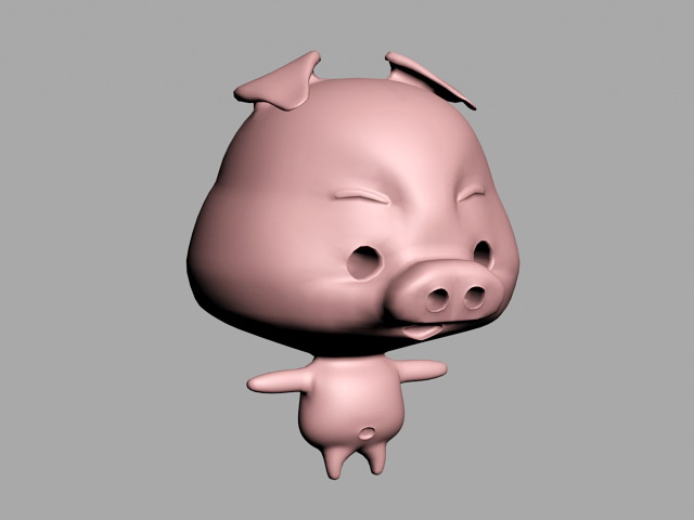 Cute Cartoon Pig 3d model