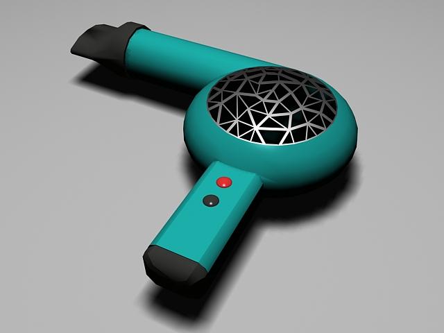 Blue Hair Ddryer 3d model