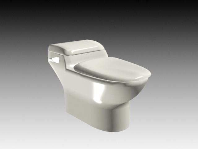 Old Flush Toilet 3d model