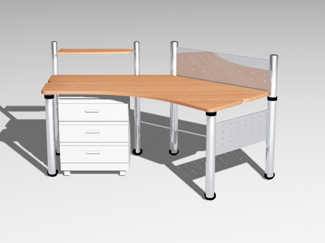 Office Desk Workstation 3d model
