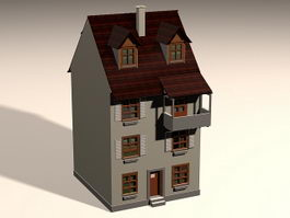 Small Colonial House 3d model