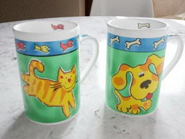 Cat and Dog Mugs 3d model