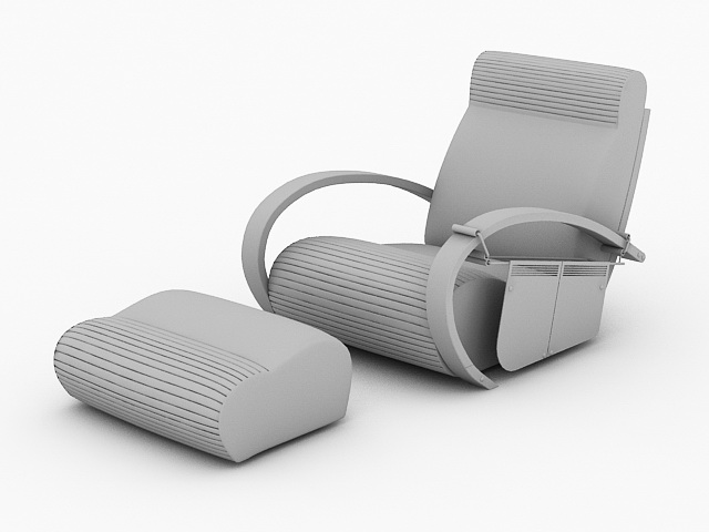 Reclining Chair with Ottoman 3d model