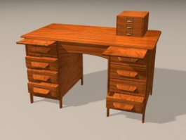 Antique Wooden Office Desk 3d model