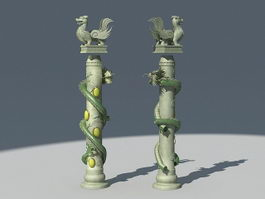 Chinese Dragon Pillar Column 3d model