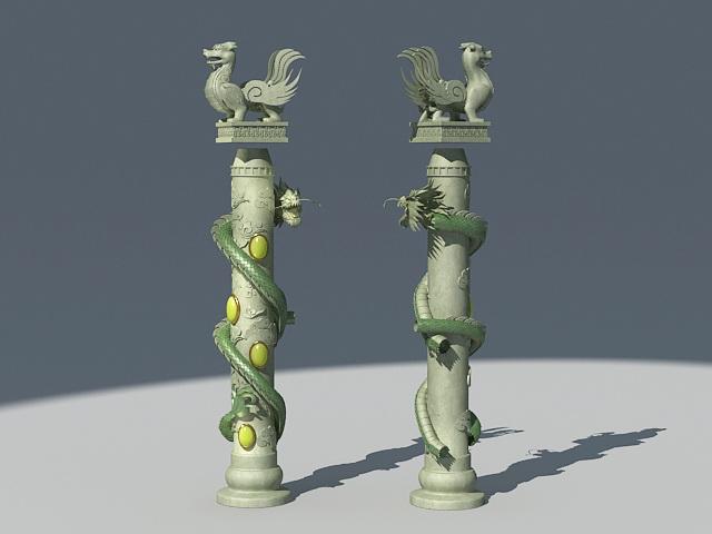 Chinese Dragon Pillar Column 3d model