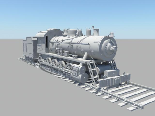 Historic Steam Locomotive 3d model