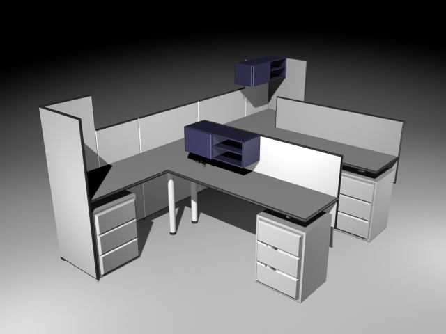 Office Cubicle and Partitions 3d model