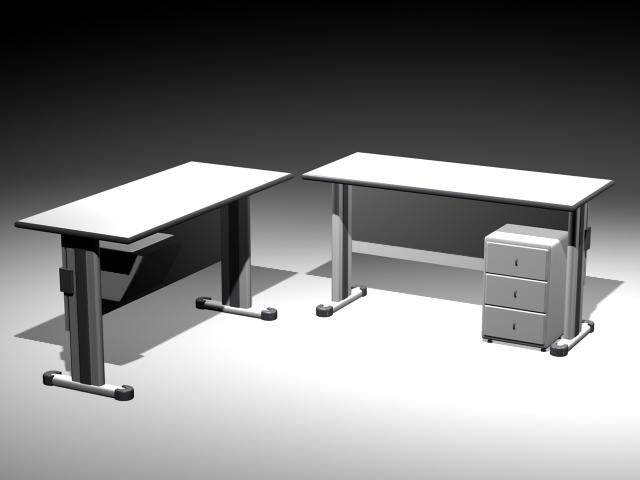 Office Desks Workstation 3d model