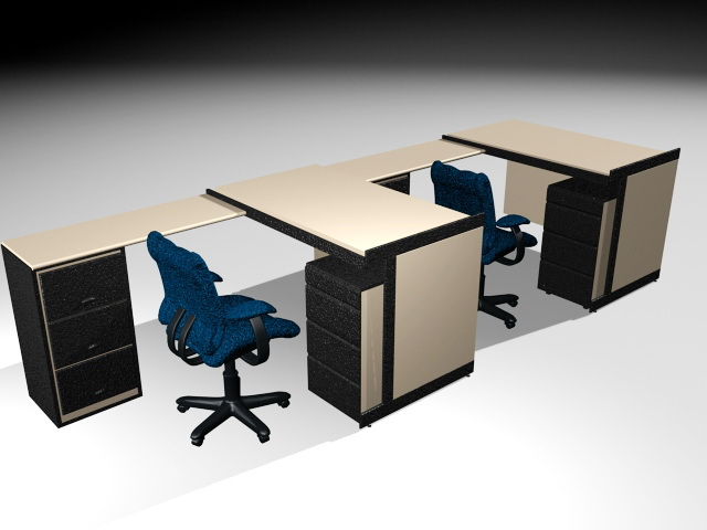 Office Desk Workstation 3d Model 3ds Max Files Free