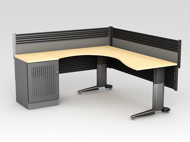 L-shaped Office Workstation 3d model