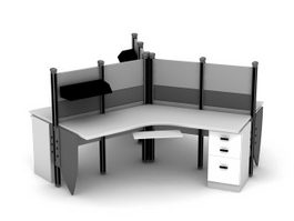 3 Person Workstation 3d model