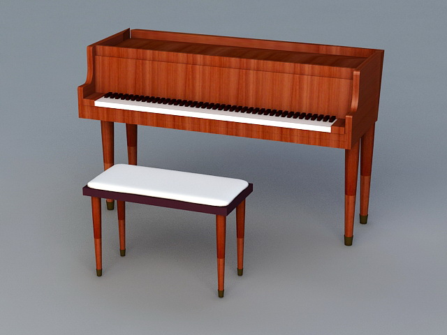 Upright Piano and Stool 3d model