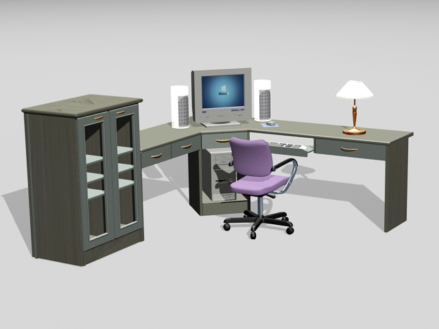 Home Office Furniture 3d model 3ds Max files free download ...