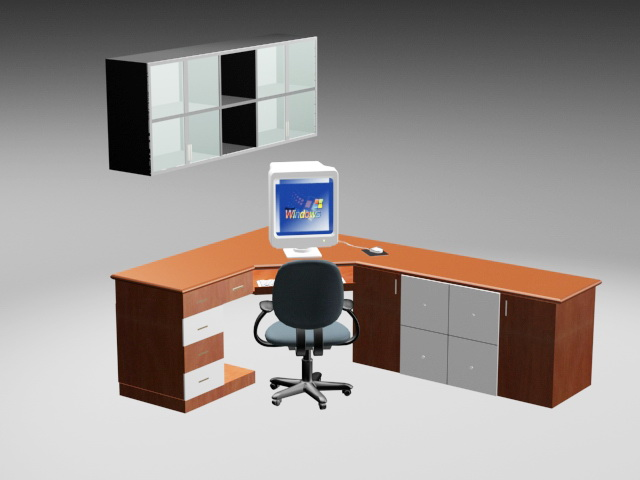 Wood Home Office Furniture 3d model
