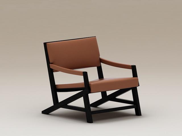 Wood Club Chair 3d model