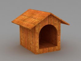 Wood Dog House 3d model