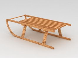 Old Wood Sled 3d model