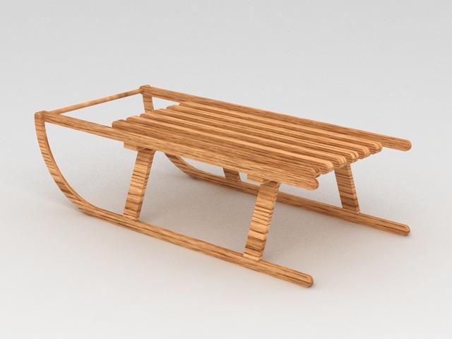Old Wood Sled 3d model