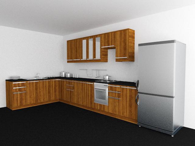 L-shaped Kitchen Design 3d model