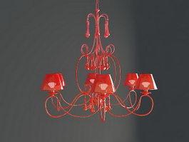 Red Coral Chandelier 3d model