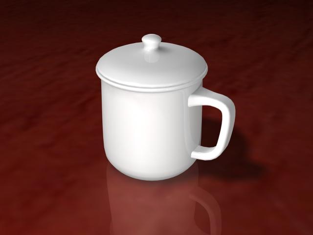 White Ceramic Tea Cup 3d model