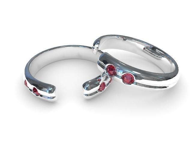Silver Ruby Bracelet 3d model