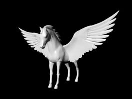White Pegasus Horse 3d model