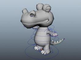 Cute Cartoon Crocodile Rig 3d model