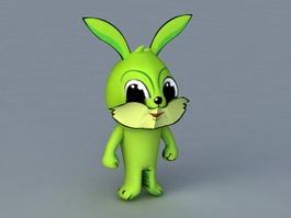 Green Cartoon Rabbit 3d model