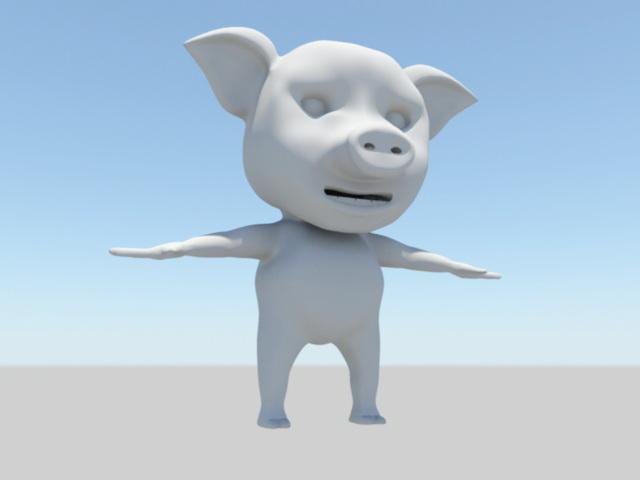 Cute Cartoon Pig 3d model