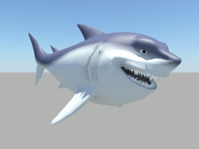 Happy Shark Cartoon 3d model