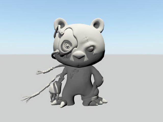 Scary Bear Cartoon 3d model