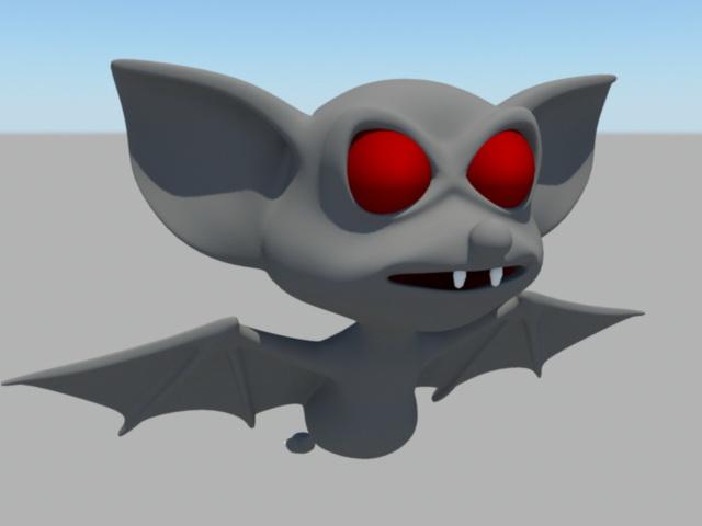 Cute Cartoon Bats 3d model