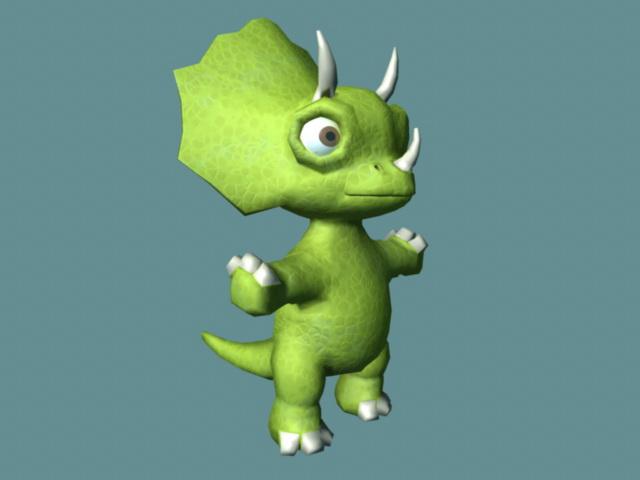 Cute Triceratops Cartoon Rig 3d model